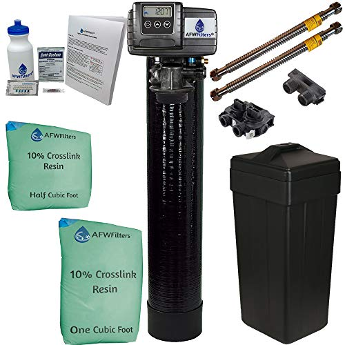 ABCwaters Built Fleck 5600sxt 48,000 Water Softener w/UPGRADED IRON REMOVAL + Hardness test + Install Kit + 2 Stainless Steel Connectors