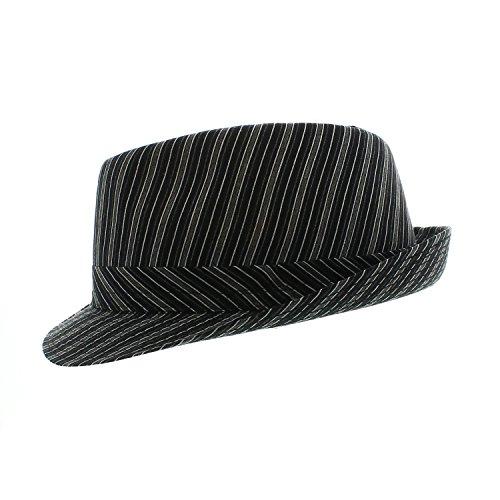 Votrechapeau - Chapeau Trilby - Petit Bord - Tivoli - Noir rayé - Tour de tête 53