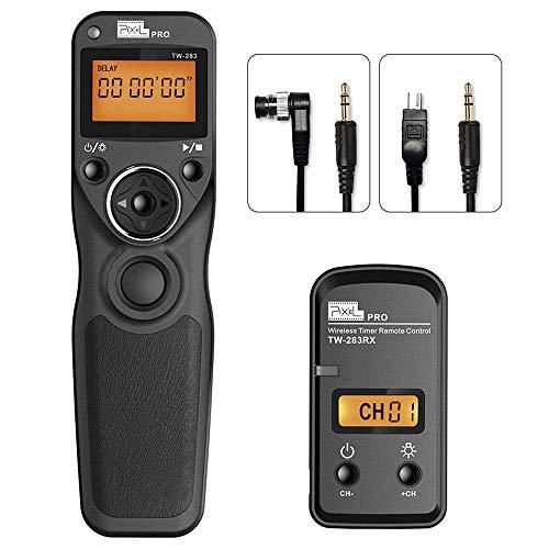 Disparador inalámbrico Cables Disparador Mando a Distancia con 2 Cables de conexión DC0/DC2, Pixel TW-283 2,4GHz Mandos a Distancia Control Remoto con Temporizador para Nikon Cámaras