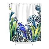 Duschvorhang Realistischer Druck Papagei Geht Anti-Schimmel & Wasserabweisend Shower Curtain Polyester Originell Duschvorhang-Badezimmerdekor White 180x200cm