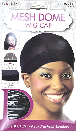 Donna Mesh Dome Wig Cap Black, lightweight, thick band, tight fit, perfect fit, mesh fabric, breathable material, comfortable, soft, by Donna Collection