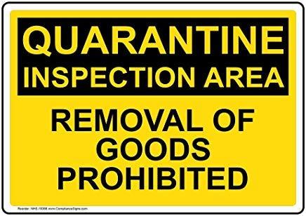Wendana - Cartello per cancellare le merci in quarantena per l'area di ispezione delle merci, cartello per cancello, cartello da giardino, 20,3 x 30,5 cm, per attrezzature mediche