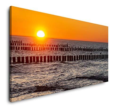 Paul Sinus Art Ostsee Sonnenuntergang 120x 60cm Panorama Leinwand Bild XXL Format Wandbilder Wohnzimmer Wohnung Deko Kunstdrucke