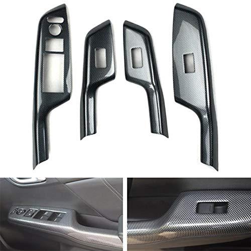 TRJGDCP Piezas de automóvil Fibra de carbono estilo Accesorios para Honda Civic 9th 2012 2013 2014 RHD coche puerta apoyabrazos ventana interruptor cubierta del panel TRIM