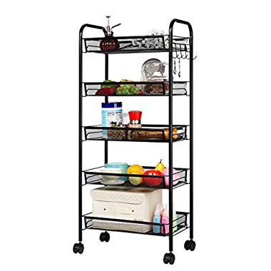 LANGRIA 5-Tier Mesh Wire Rolling Cart Multifunction Utility Cart Kitchen Storage Cart on Wheels, Steel Wire Basket Shelving Trolley,Easy moving,Black