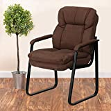 Flash Furniture Brown Microfiber Executive Side Reception Chair with Lumbar Support and Sled Base