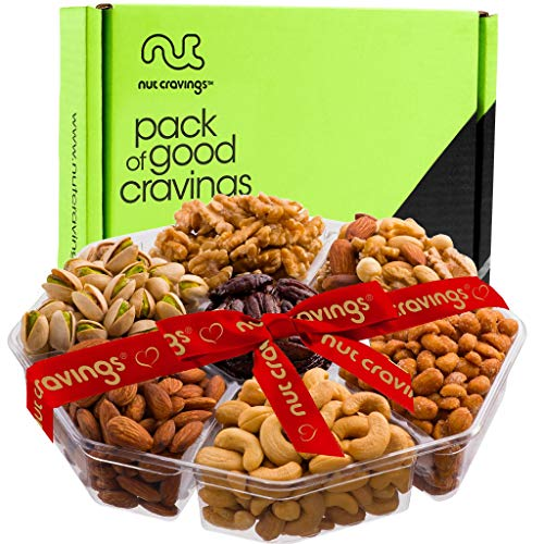Nut Gift Basket Assortment, Red Ribbon Large Tray (7 Mix) - Variety Care Package, Birthday Party Food, Holiday Arrangement Platter, Healthy Snack Box for Families, Women, Men, Adults