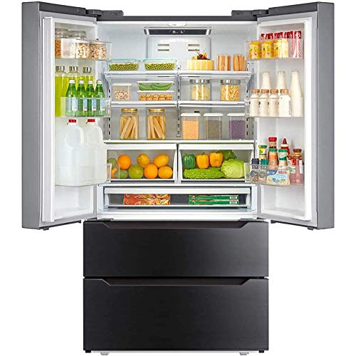 Smad 36' French Door Refrigerator with Auto Ice Maker Counterdepth Refrigerator Bottom Freezer Stainless Steel, 22.5 Cu.Ft, Black