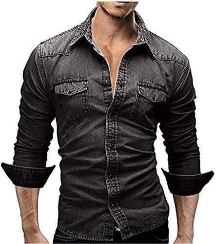 Camisa social masculina casual de cowboy da ED Express, camisa de botão e manga comprida, jeans de algodão, caimento justo, Preto, 3X-Large