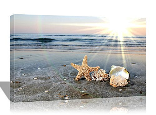 Purple Verbena Art 10''x14'' Modern Starfishes Shell with The Blue Sea Sunshine Beach Seascape Pictures Prints on Canvas Home Decor Walls Artwork Paintings, Giclle Stretched and Framed Wall Picture
