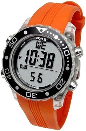 Digital Multifunction Sports Wrist Watch - Waterproof Smart Fit Classic Men Women Water Sport Swimming Fitness Gear Tracker w/ Chronograph, Countdown, Dual Time, Diving Mode - Pyle PSNKW30O (Orange)