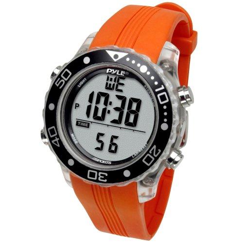 Pyle Schnorchel und Tauch Multifunktions Wassersport-Uhr mit Tauchmodus Chronograph Tauchtiefe, Orange, PSNKW30O