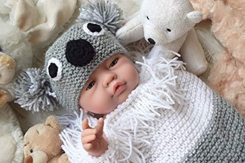 Koala Hut Mütze und Kokon Stricken Kuscheln Baby Babyschlafsack Neugeborenes Outfit Frühchen Tier Kostüm Geschenk