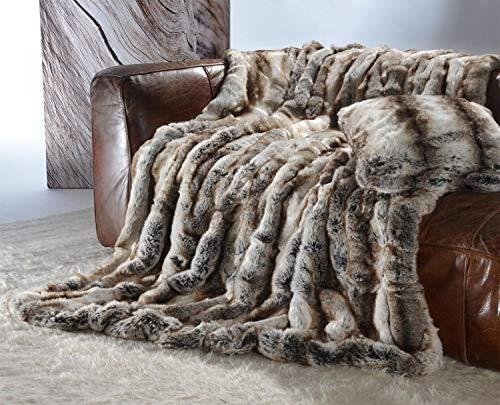 Élégant Premium couverture en fourrure en fausse fourrure loup gris de marron 170 x 220 cm