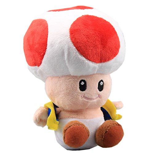 uiuoutoy Super Mario Bros. Red Toad Plush Mushroom 7''