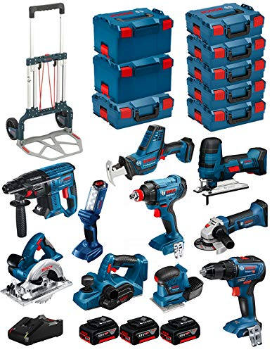 BOSCH Kit 18V BK1001 (GST 18V-LI S +GKS 18V-LI +GBH 18V-21 +GWS 18-125V-LI +GSR 18V-55 +GSA 18V-LI C +GDX 18V-180 +GLI 18V-300 +GHO 18V-LI +GSS 18V-10 + 3 Baterías 4,0Ah + Cargador + 8xL-Boxx + Carro)