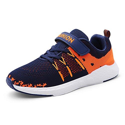 Unpowlink Kinder Schuhe Sportschuhe Ultraleicht Atmungsaktiv Turnschuhe Klettverschluss Low-Top Sneakers Laufen Schuhe Laufschuhe für Mädchen Jungen 28-37, Blau, 30 EU