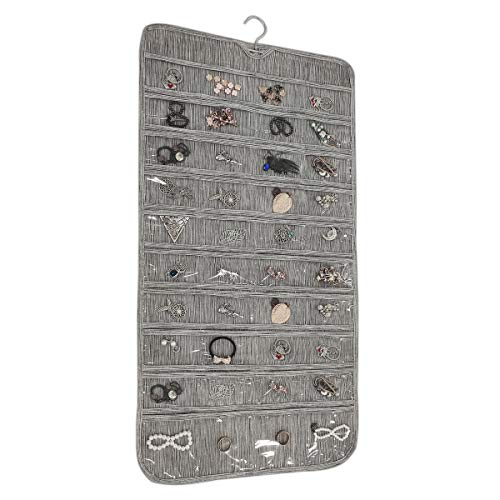BB Brotrade Hanging Jewelry Organizer,80 Pocket Double Sided Organizer,Necklace,Earring,Ring Holder for Jewelries (Grey)