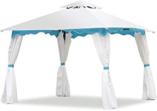 Tangkula 2 Tier 10'x10' Patio Gazebo Canopy Tent Steel Frame Shelter Awning W/Side Walls