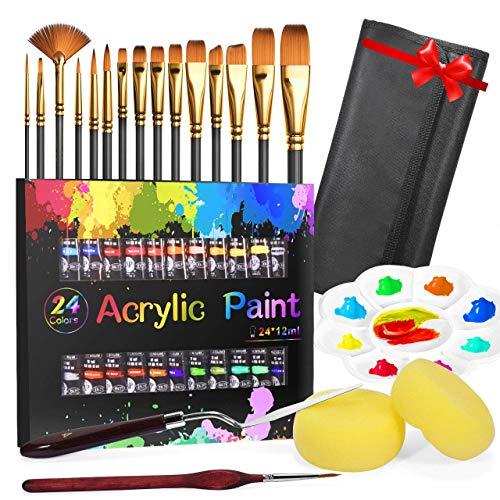 Acrylfarben Set, Buluri Acrylfarben 24x12ml Tuben - mit 15 Pinsel Acryl Farben Set Perfekt für Steine, Holz, Papier alle Bastel Acrylfarbe für Kinder Erwachsene Bastler und Profis