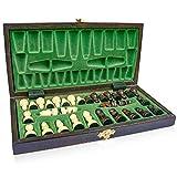 Amazinggirl Schachspiel Schach Schachbrett Holz hochwertig - Chess Board Set klappbar mit Schachfiguren groß für Kinder und Erwachsene 26 x 26 cm - 8