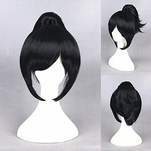 perruque lisse avec queue de cheval Pony Cosplay/Costume/carnaval/soirée Anime Manga Thème Noir