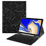 Fintie Tastatur Hülle für Samsung Galaxy Tab S4 T830 / T835 (10.5 Zoll) 2018 Tablet-PC - Superdünn Schutzhülle mit magnetisch Abnehmbarer drahtloser Deutscher Bluetooth Tastatur, Sternbild