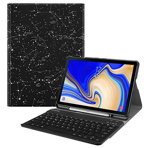 Fintie Tastatur Hülle für Samsung Galaxy Tab S4 T830 / T835 (10.5 Zoll) 2018 Tablet-PC - Ultradünn Schutzhülle mit magnetisch Abnehmbarer drahtloser Deutscher Bluetooth Tastatur, Sternbild