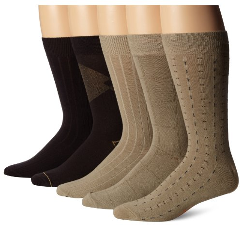 Dockers Men's 5 Pairs Classic Dashed Asst. Pattern Dress Crew Socks, Black, Shoe Size: 6-12