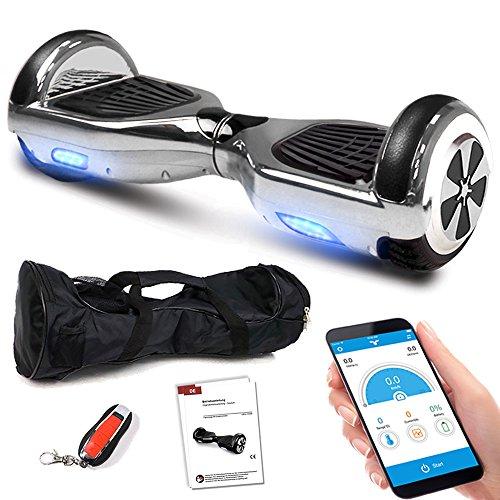 Balance Scooter 6,5 Zoll 600W-Motion V.5 mit App Funktion, Bluetooth Lautsprecher, Kinder Sicherheitsmodus, Elektro Self Balance E-Scooter, 600 Watt (SilberChrome)