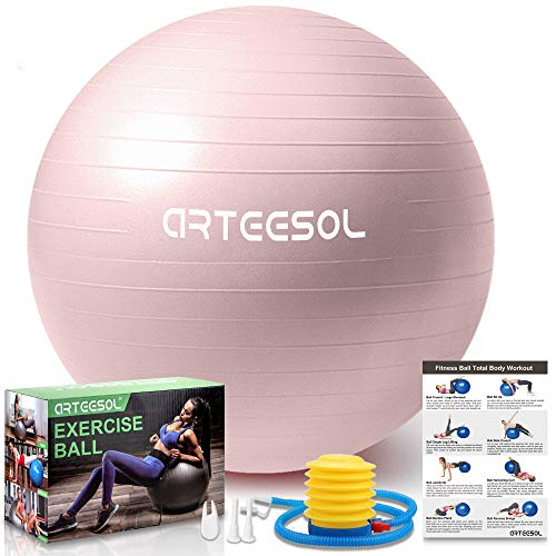 arteesol Gymnastikball, Balance Ball 45cm/55cm/65cm/75cm Yoga Ball mit Pumpe Anti-Burst Fitness Balance Ball für Core Strength (65 cm, Rosa-Scrub)