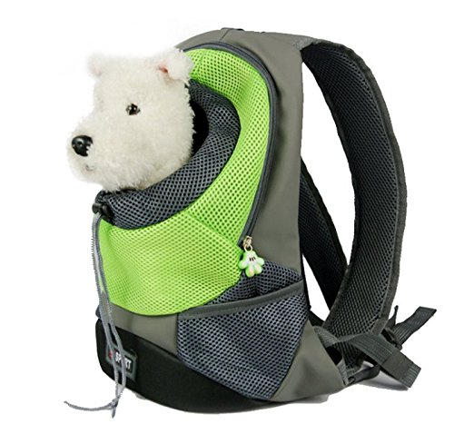 Mochila transportadora de mascotas, transpirable, con doble asa para hombros, para gatos y perros, para viajes, bicicleta, senderismo, compras.