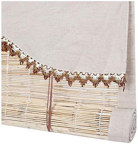 RENQIAN Bamboe Gordijn Oosterse Meubilair Rolgordijn Blinds Riet Gordijnen Met Emaille Bamboe Gordijnen Voor Windows (Kleur : B Grootte : 100X120)