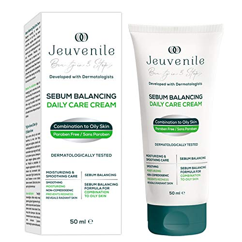 Jeuvenile Sebum Balancing Anti Acne Daily Care Cream 50 ML (AC.NET%5, Niacinamide%4, Salicylic Acid, Pre + Probiotics), Dermatologically Tested, Clinically Proven, SLES & Paraben Free