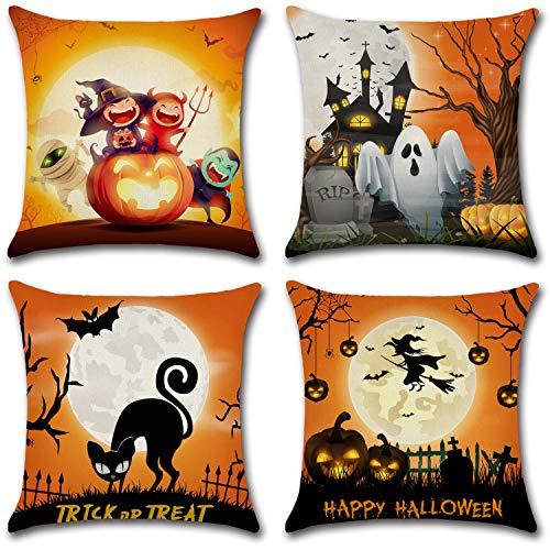 Dazonge Juego de 4 fundas de almohada de Halloween   Funda de cojín decorativa para bancos   Funda de almohada