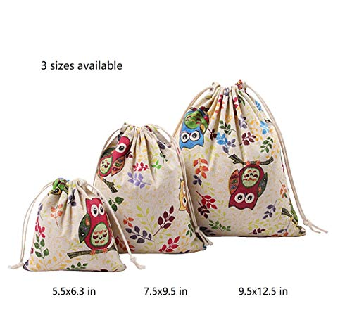 Nuni Owl On Branch Pattern Cotton Drawstring Pouches Muslin Bags Gift Bags Sacks Sachet Bags for Jewelry Candy Favors Wedding Birthday Party Tan 3 Sizes Available 1-12 Counts (7.5x9.5/1 Bag)