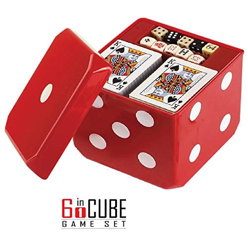 Gamie 6-in-1 Dice Cube Game Set Board Games and Casino Set – Includes Chess, Checkers & Backgammon, 2 Decks of Playing Cards, Poker Chips, Poker Dice & Dominoes - Complete Kit for Family Fun