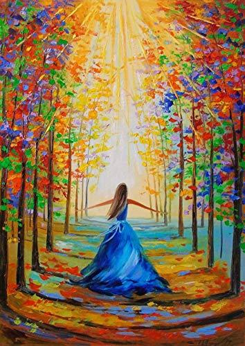 TONZOM Dipingere con i Numeri Ragazza della Foresta per Adulti Bambini Principianti 16x20 Pollici Fai-da-Te Dipinto su Tela con Pennelli e Colori Senza Cornice