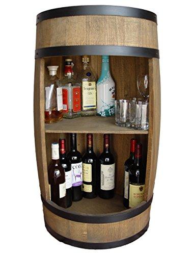 weeco Bar im Stil eines Holzfasses, 81 cm, Barschrank, Holzfass, zur Aufbewahrung von Weinflaschen