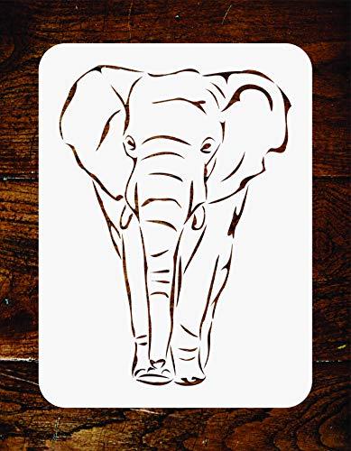 Schablone Afrikanischer Elefant, 16,5 x 23 cm, wiederverwendbar, afrikanische Tiere, Wandschablonen