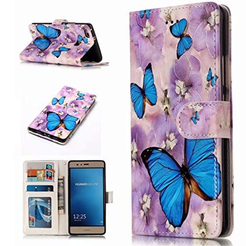 iPhone 5 / 5s / 5se hoes houder portefeuille creditcardvak eigenschappen PU leder magnetisch van stent functie 3D cartoon patroon design beschermhoes DECHYI case cover, FD05, HUAWEI P9LITE