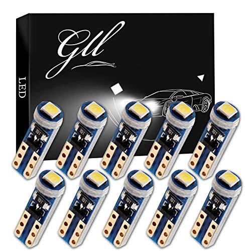 Grandview 10pcs Blanc T5 Ampoules LED 74 70 37 2721 3528 1-3030-SMD pour Intérieur de la Voiture Compteur de Vitesse Tableau de Bord Instrument Indicateur de Jauge de la Lumière du Panneau de Lampe