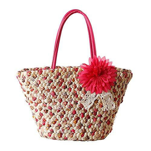 TININNA Donne Estate Moda Fiori Borsa di Paglia Spiaggia Vacanza Borsa A Tracolla Shopper Sacchetto Tote di Viaggio(Rose Rosso)