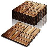 VINGO Holzfliesen aus Akazien Holz, 30 * 30cm 12 Latten Fliese 1m², Bodenfliesen geeignet als Terrassenfliesen und Balkonfliesen(11 Stück)