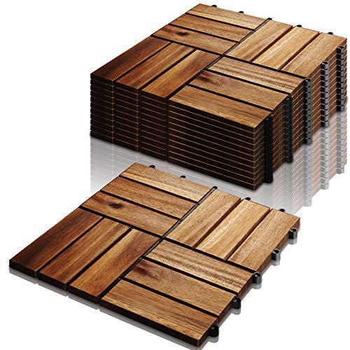 VINGO Holzfliesen, 3m² Bodenbelag aus Akazienholz 30x30cm, Klickfliesen Mosaik, perfekt Fliese für Garten Terrasse Balkon(33 Stück)