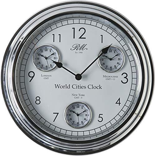 Riviera Maison - Uhr, Wanduhr, Weltzeituhr - World Cities - Clock - Silber - Ø: 51 cm