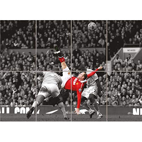 Doppelganger33 LTD Wayne Rooney Over Head Kick Manchester United Wall Art Multi Panel Poster Print 47x33 inches