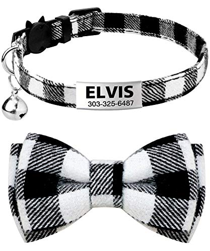 TagME Personalized Breakaway Cat Collar with Cute Bow Tie & Bell, Stainless Steel Slide-on Pet ID Tag Engraved with Name & Phone Numbers,1 Pack Black