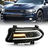 ACANII - For [HID/Xenon Model] 2015-2018 Dodge Charger LED DRL Tube Projector Headlight Headlamp Driver Side, w/o Logo