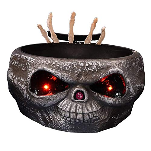 Yiyu Platos Dulces Halloween Cráneo Cuenco, Caramelo Cráneo Plástico Bol Sensor Movimiento En Movimiento Espeluznante Esqueleto Mano El LED Se Encienden Los Ojos Monstruo Efectos De Sonido j